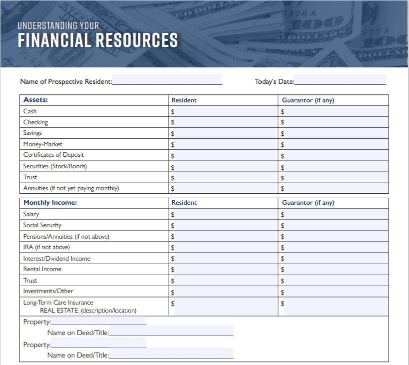 Financial Resources Worksheet